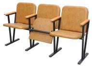 Крісло для актового залу м'ягке 3-х місне, шкірзамінник