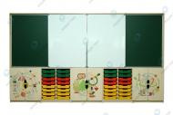 """Wall unit for subject studies """"Interactive education"""" with photo print (The price is indicated with trays as it is represented on photo and without taking into account the cost of interactive panel)"""