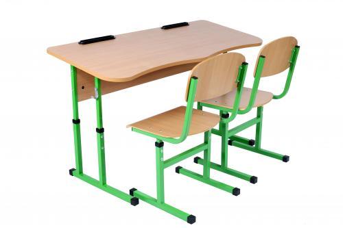 Комплект стол ученический 2-местный антисколиозный без полки + стул Т-образный на квадратной трубе, №4-6 с HPL покрытием